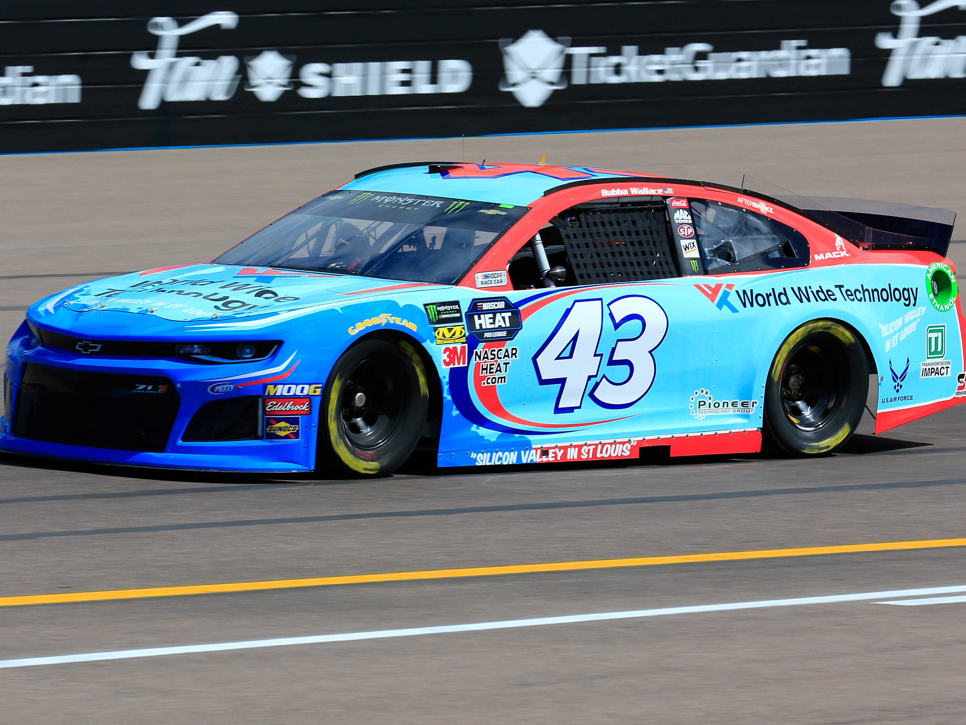 AVONDALE, AZ - MARCH 08: Bubba Wallace, driver of the #43 World Wide Technology Chevrolet, practices for the Monster Energy NASCAR Cup Series TicketGuardian 500 at ISM Raceway on March 8, 2019 in Avondale, Arizona.