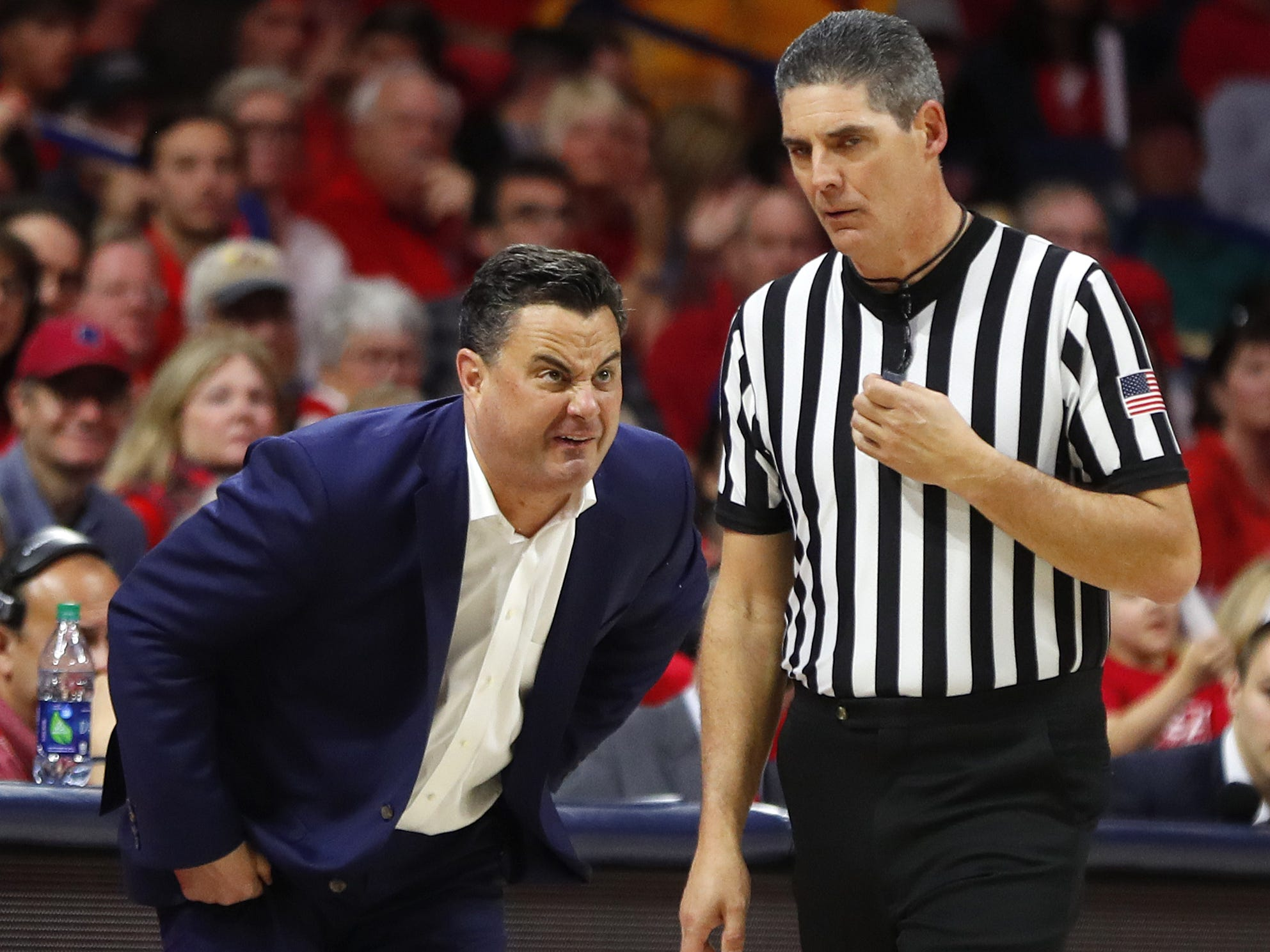 Arizona's head coach Sean Miller stares down an official after a no-call during the second half against ASU at the McKale Memorial Center in Tucson, Ariz. on March 9, 2019.
