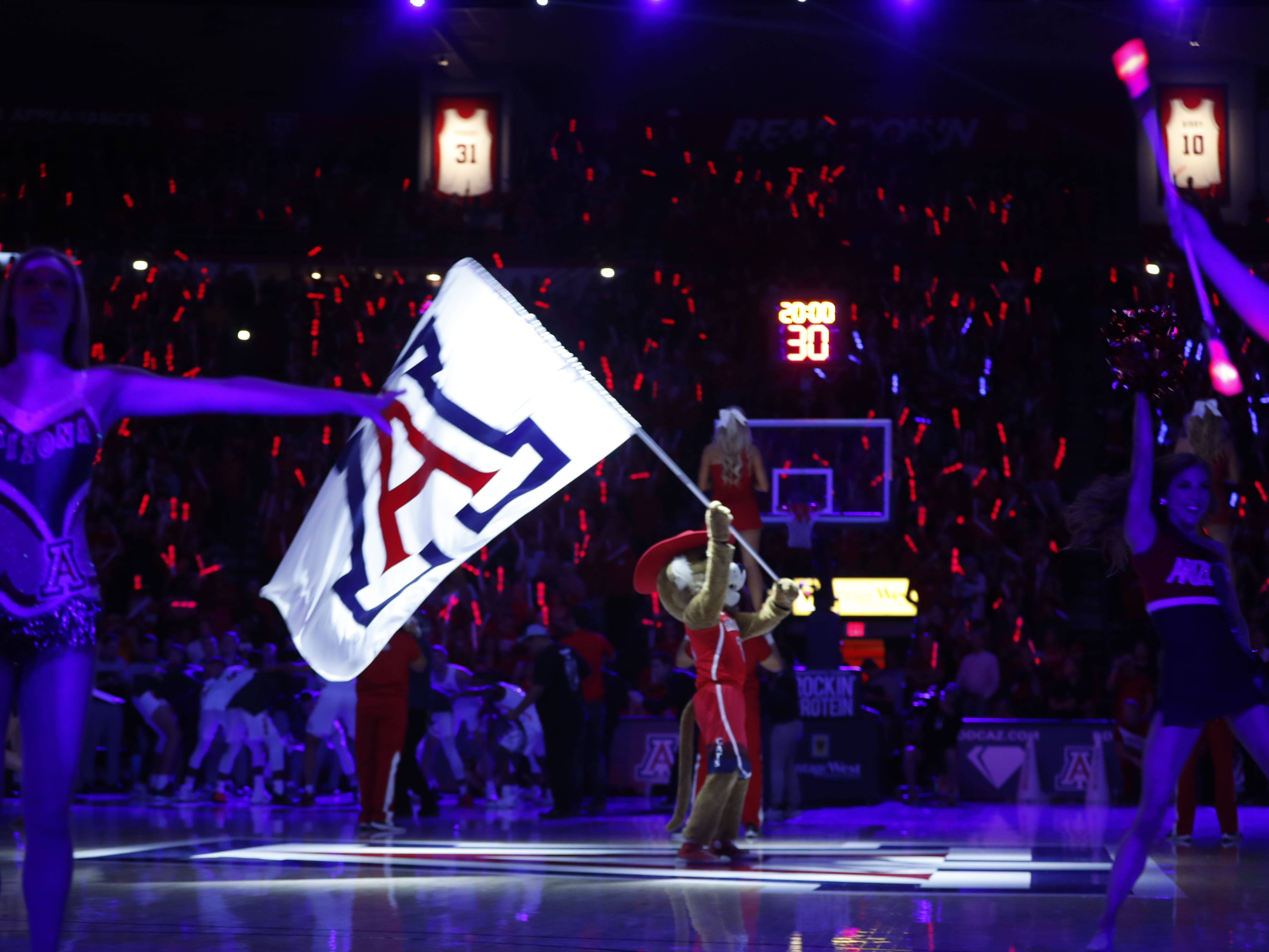 Arizona's mascots and cheerleaders perform during the pregame at the McKale Memorial Center in Tucson, Ariz. on March 9, 2019.