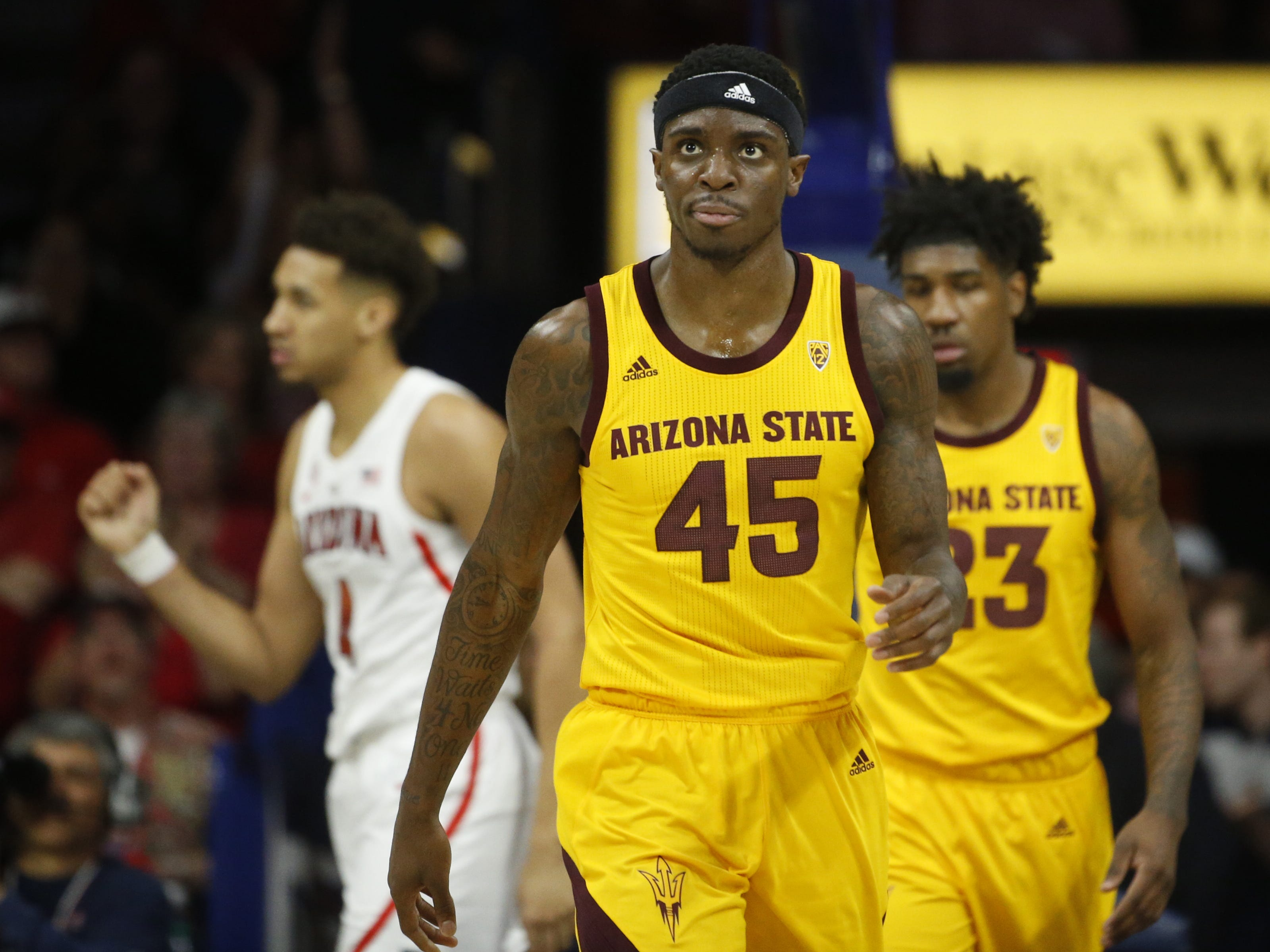 ASU's Zylan Cheatham (45) reacts after turning the ball over to Arizona during the first half at the McKale Memorial Center in Tucson, Ariz. on March 9, 2019.