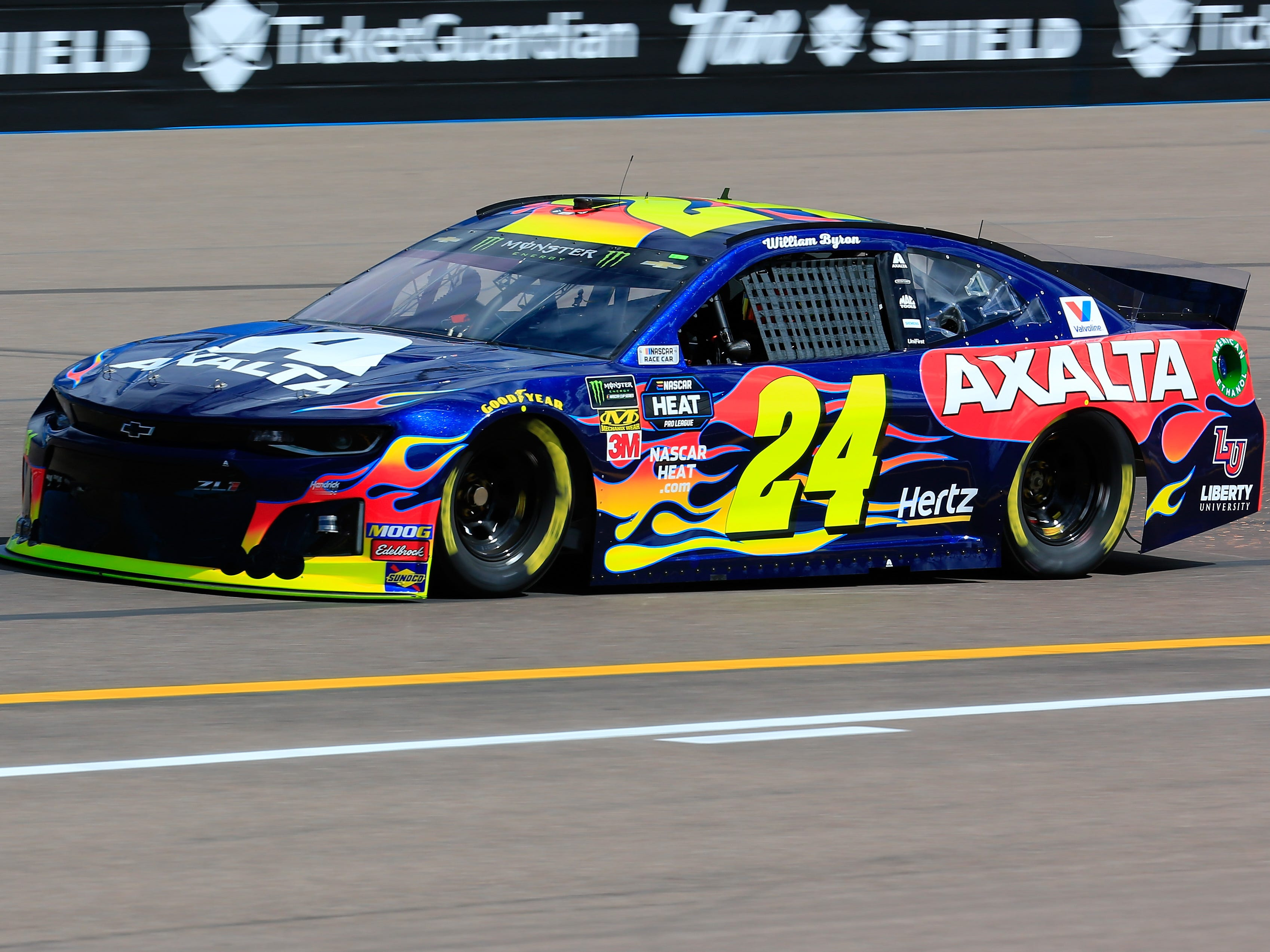 AVONDALE, AZ - MARCH 08: William Byron, driver of the #24 Axalta Chevrolet, practices for the Monster Energy NASCAR Cup Series TicketGuardian 500 at ISM Raceway on March 8, 2019 in Avondale, Arizona.