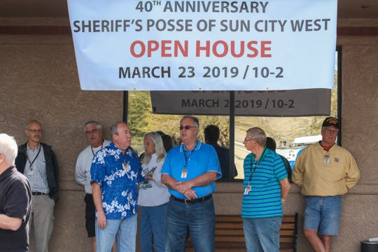Members of the Sheriff's Posse of Sun City West wait for Sheriff Paul Penzone to hold a press conference at the headquarters of the Sheriff's Posse of Sun City West on Friday, March 8, 2019.