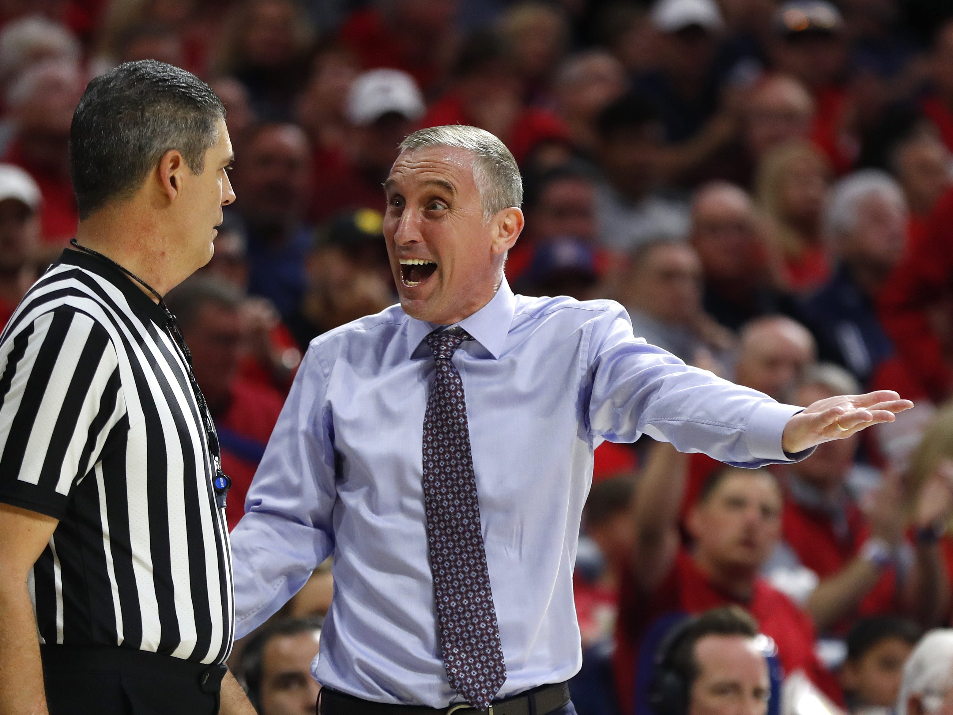 ASU's Bobby Hurley yells at an official during the second half against Arizona at the McKale Memorial Center in Tucson, Ariz. on March 9, 2019.