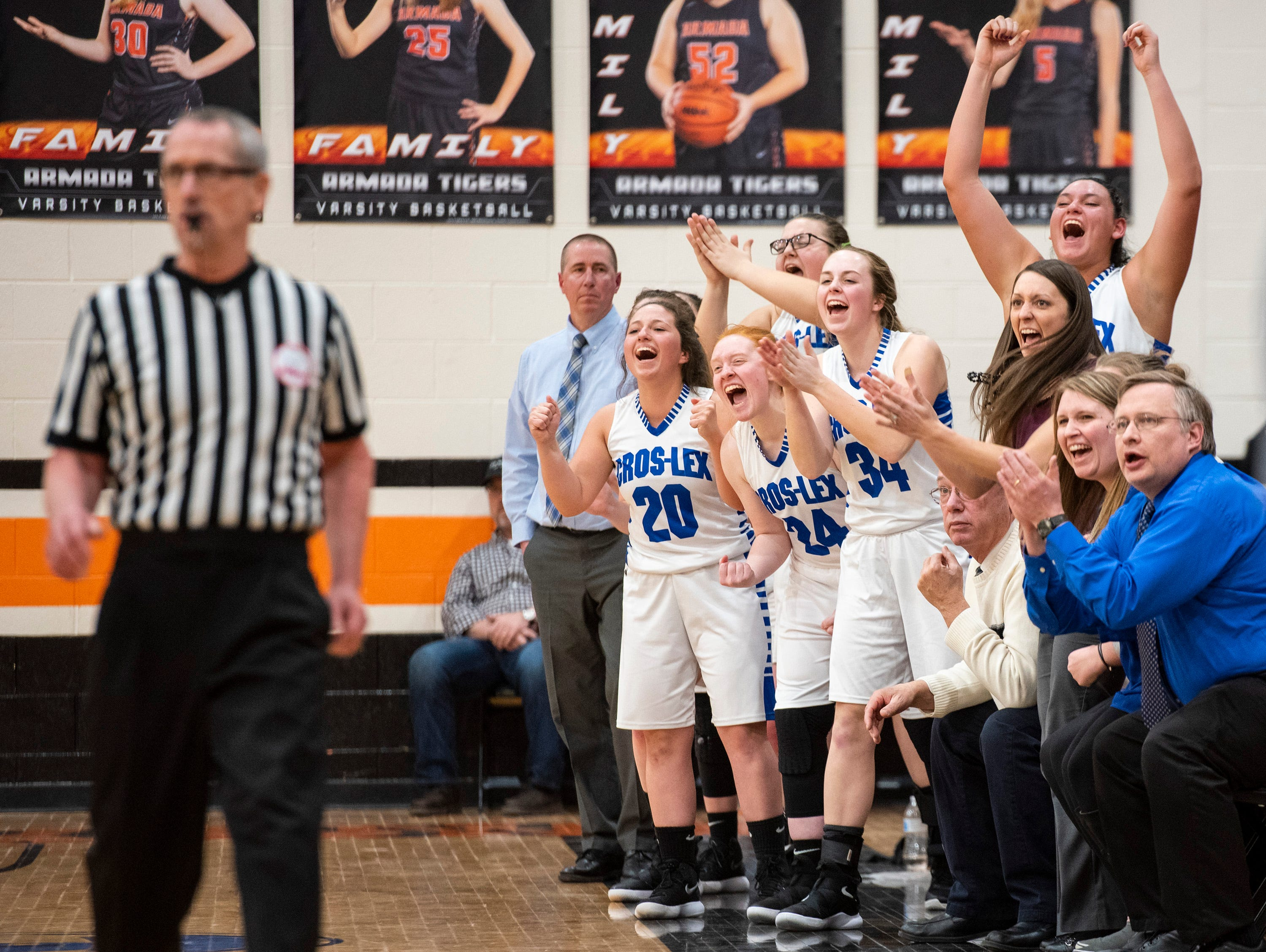Croswell-Lexington coaches and teammembers cheer after a basket during the MHSAA Girls Basketball Division 2 district finals against Marysville High School Friday, March 8, 2019 at Armada High School.