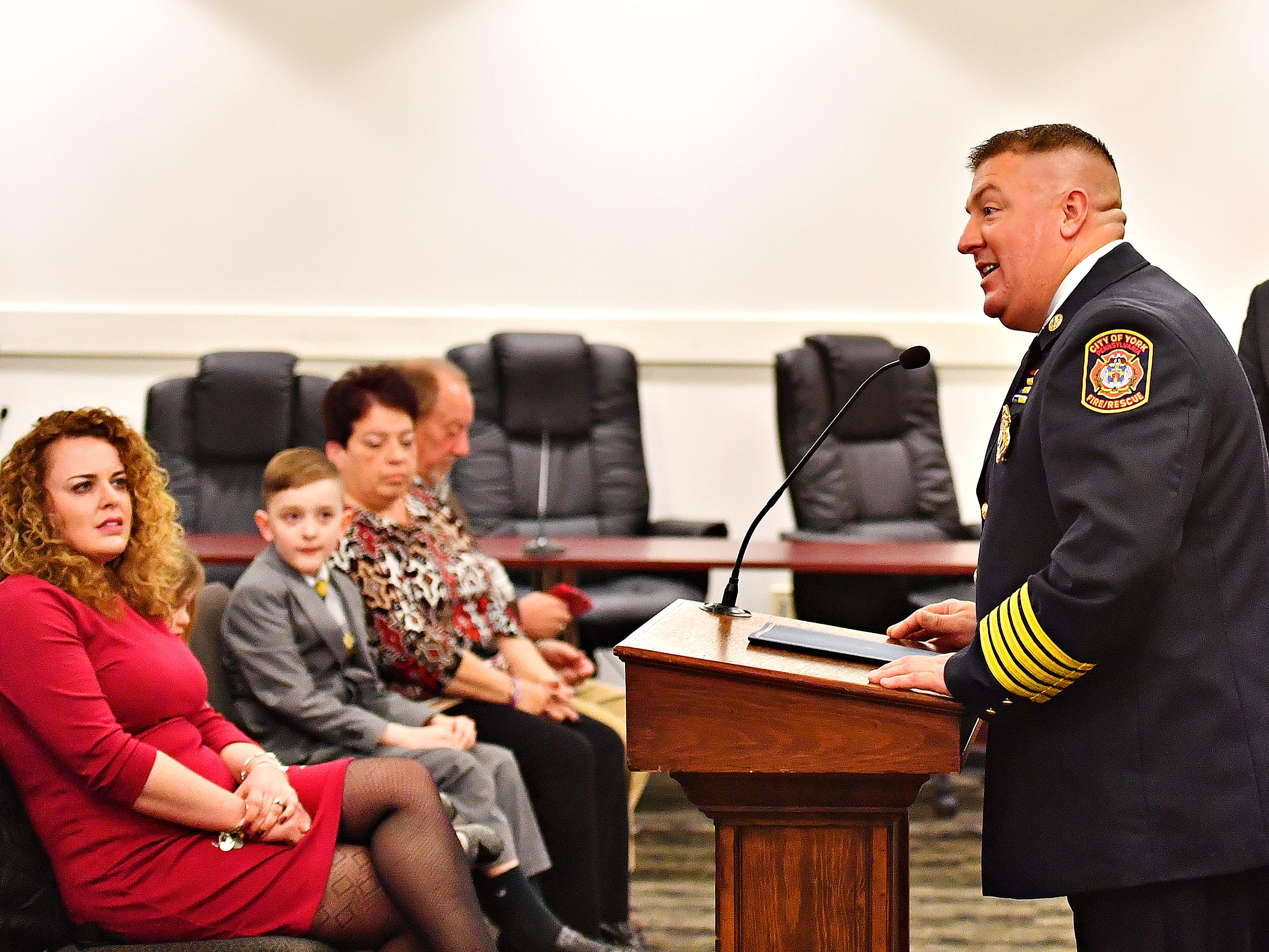 York City Fire Chief Chad Deardorff is celebrated during a swearing-in ceremony at York City Hall in York City, Friday, March 8, 2019. Dawn J. Sagert photo