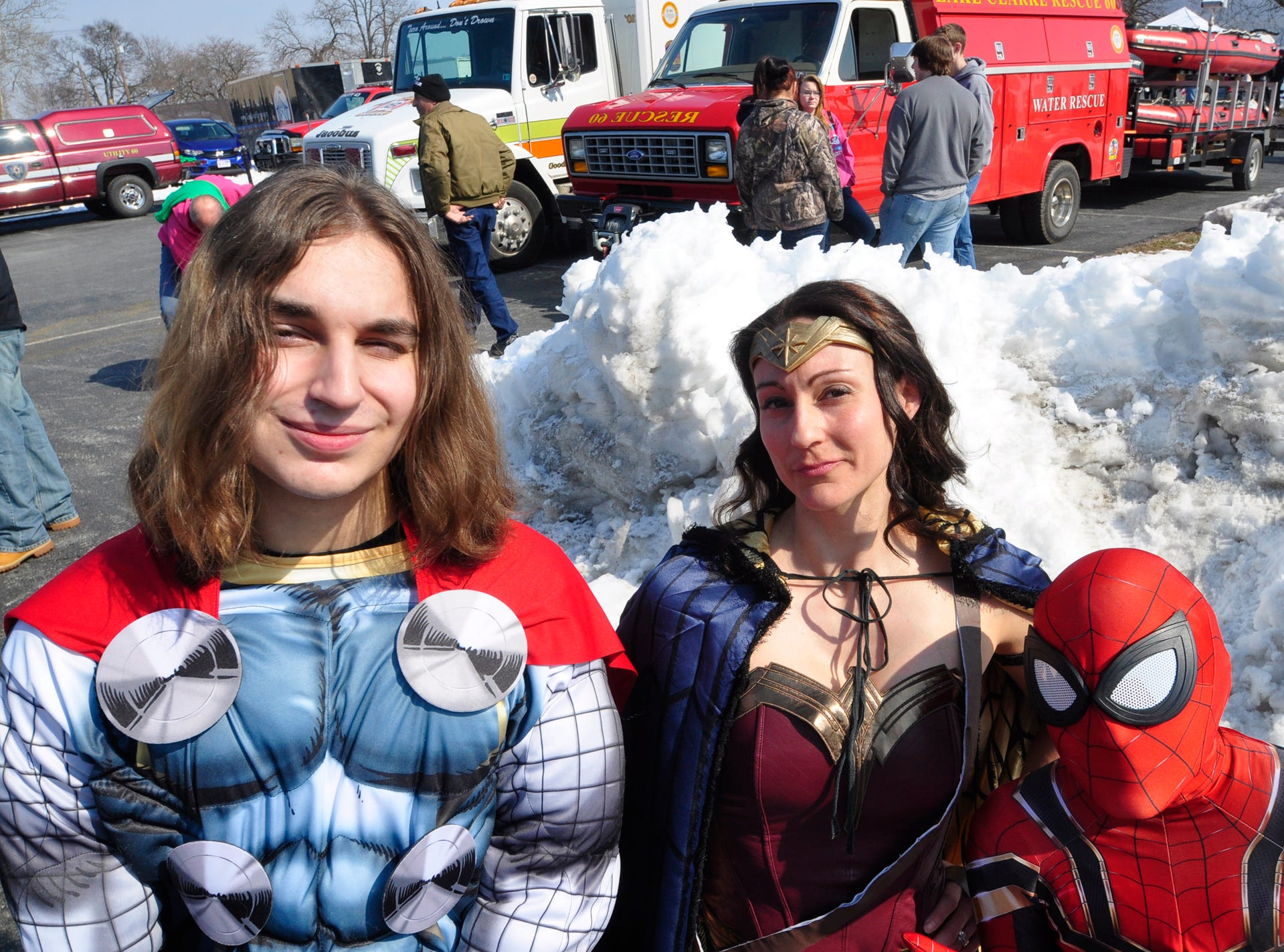 Michael Allen is Thor, Alena Bopwers is Wonder Woman and Sammy Bowers is Spider Man. All from Mount Wolf.