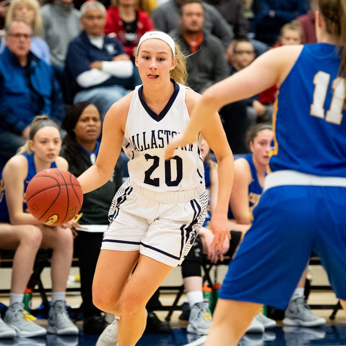 Lily Jamison (20) brings the ball up during the PIAA first round girls' basketball game between Dallastown and Downingtown East Friday, March 8, 2019 at West York Area High School. The Wildcats are neck and neck with the Cougars.