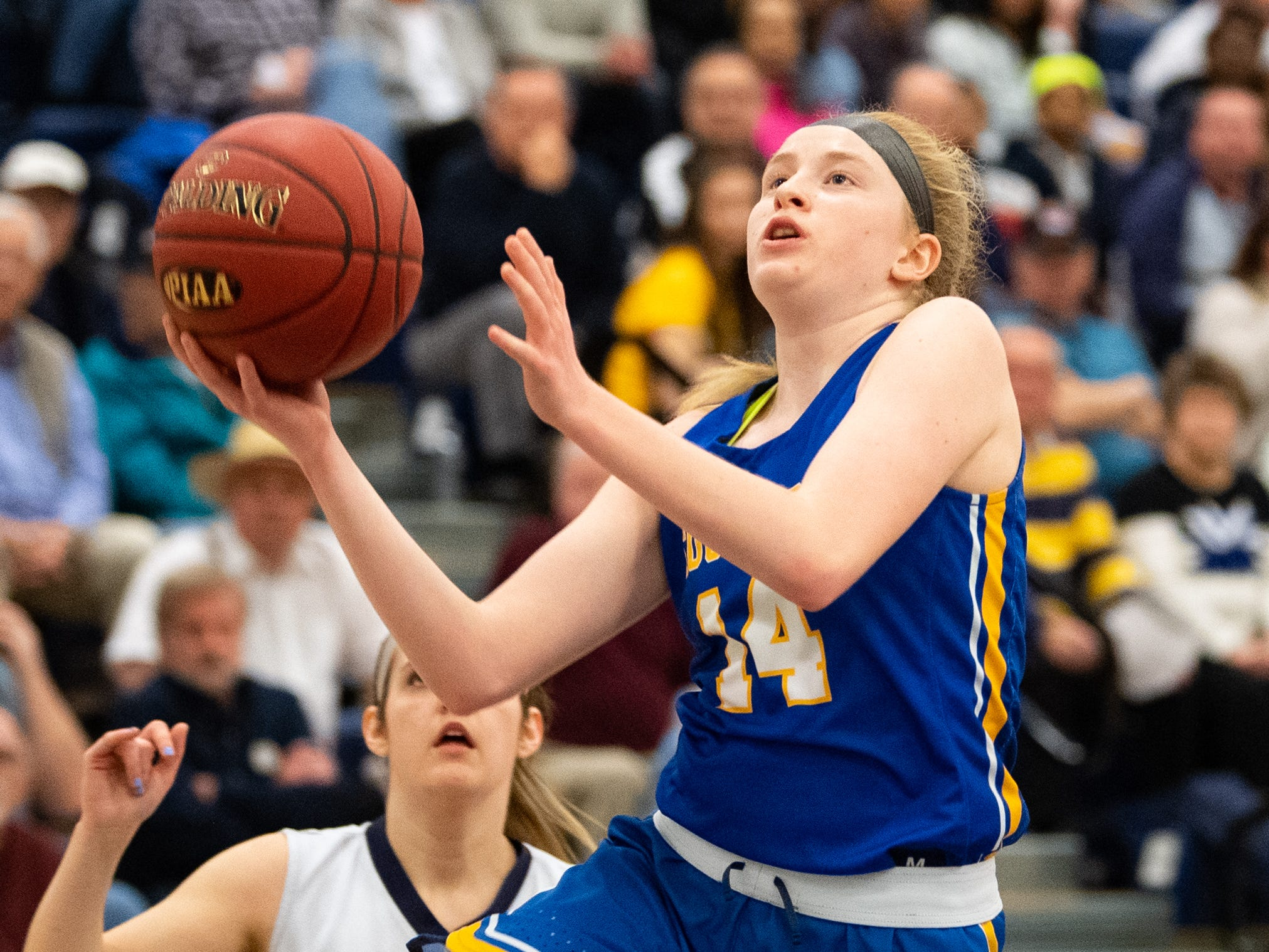 Caroline Brennan (14) lays the ball up during the PIAA first round girls' basketball game between Dallastown and Downingtown East Friday, March 8, 2019 at West York Area High School. The Wildcats are neck and neck with the Cougars.