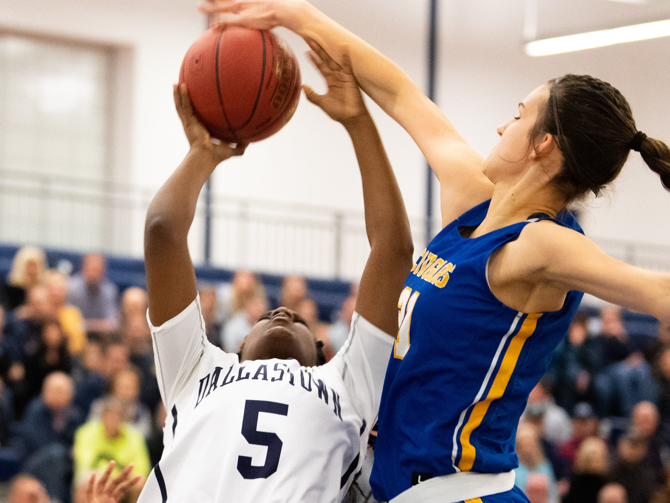 Bella Smuda (31) blocks Dallastown's D'Shante Edwards (5) during the PIAA first round girls' basketball game between Dallastown and Downingtown East Friday, March 8, 2019 at West York Area High School. The Wildcats are neck and neck with the Cougars.