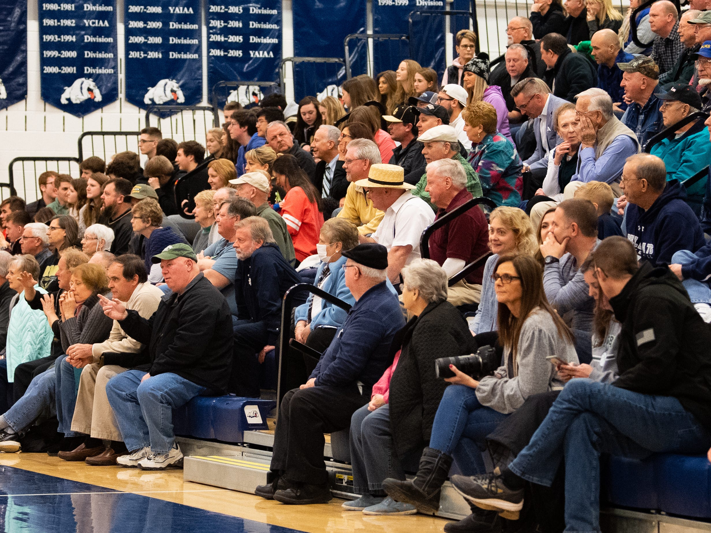 The gym is full with fans of both teams during the PIAA first round girls' basketball game between Delone Catholic and Lewisburg Area Friday, March 8, 2019 at West York Area High School. The Squires defeated the Green Dragons 77 to 36.