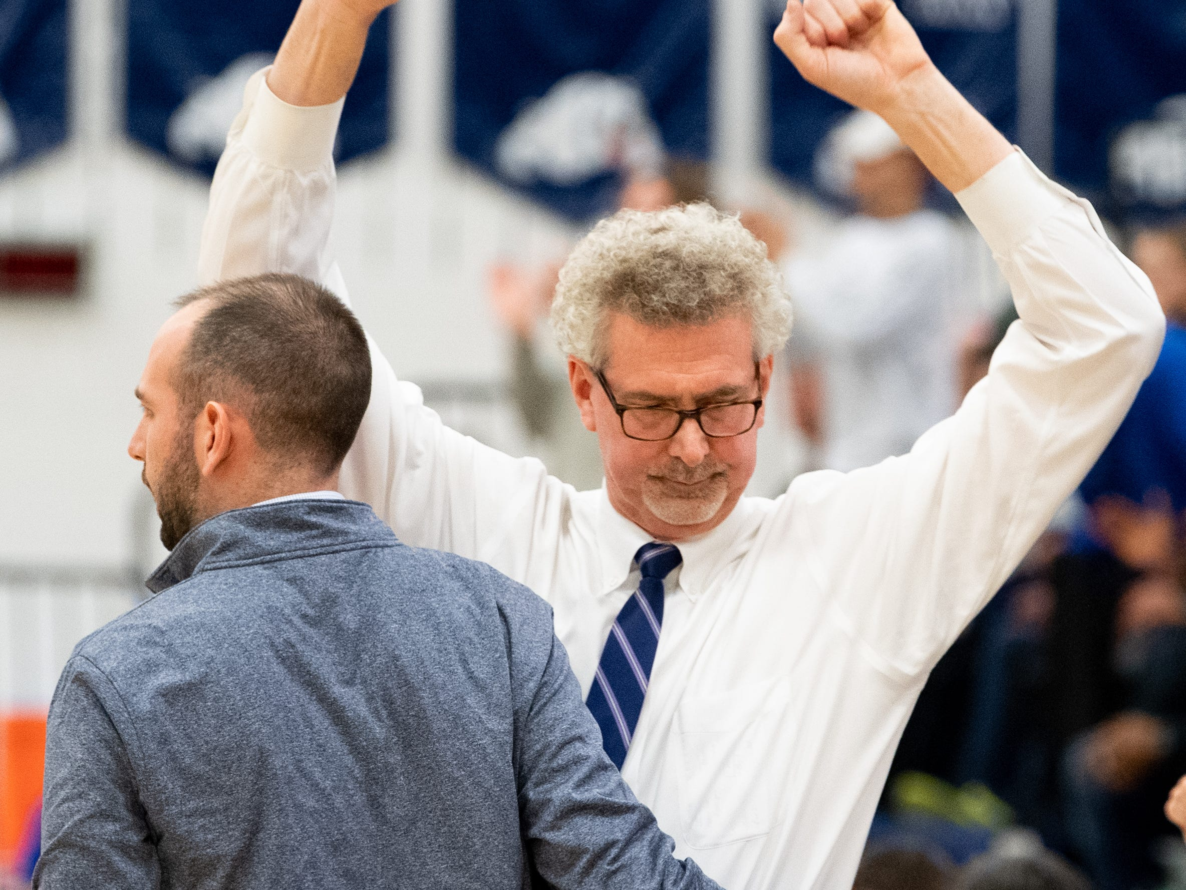 Dallastown head coach Jay Rexroth can hardly contain his excitement after his team defeated Downingtown East in the PIAA first round girls' basketball game, Friday, March 8, 2019 at West York Area High School. The Wildcats beat the Cougars 43 to 39.
