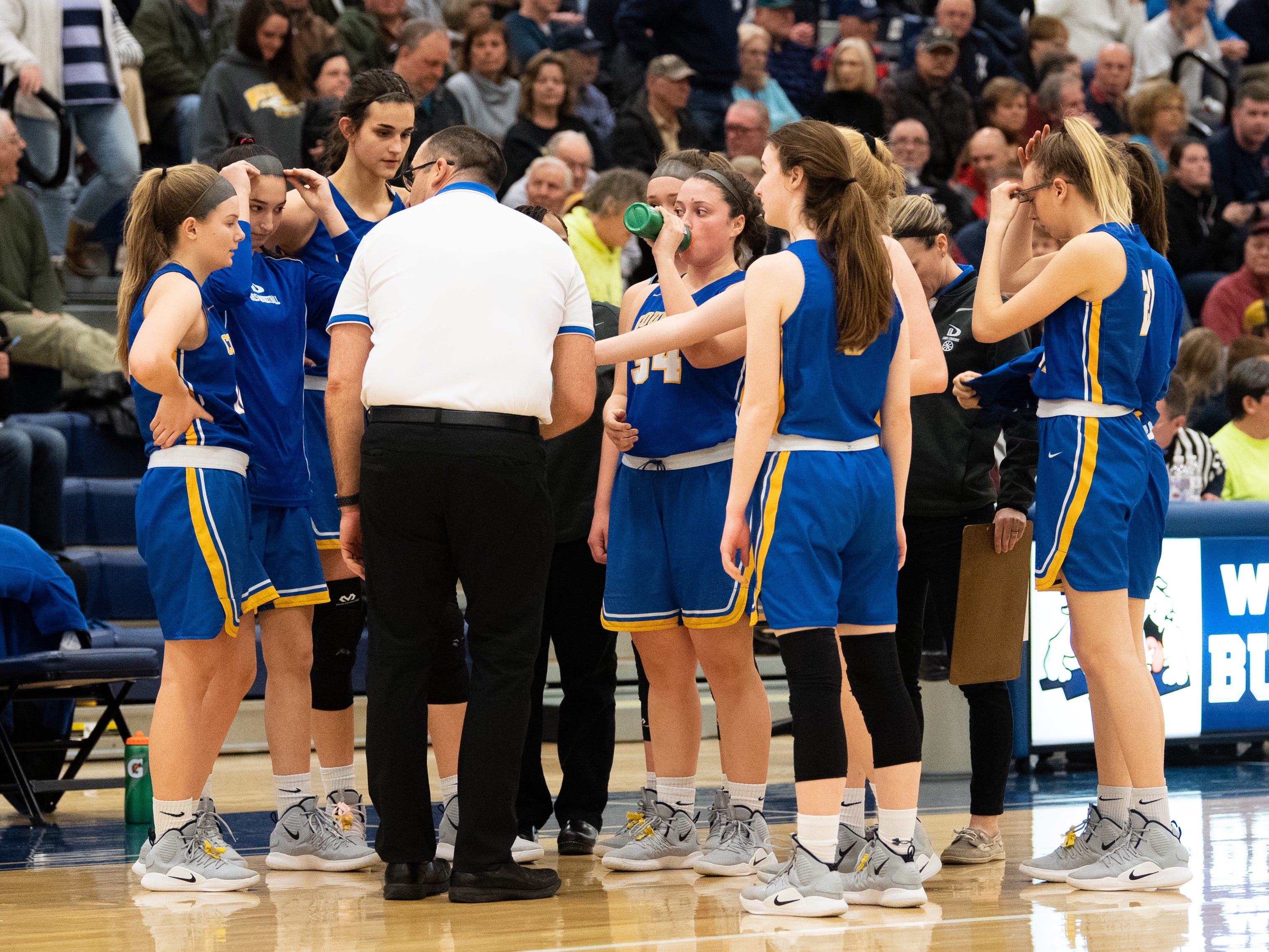 Downingtown East discusses strategy in a timeout during the PIAA first round girls' basketball game between Dallastown and Downingtown East Friday, March 8, 2019 at West York Area High School. The Wildcats defeated the Cougars 43 to 39.