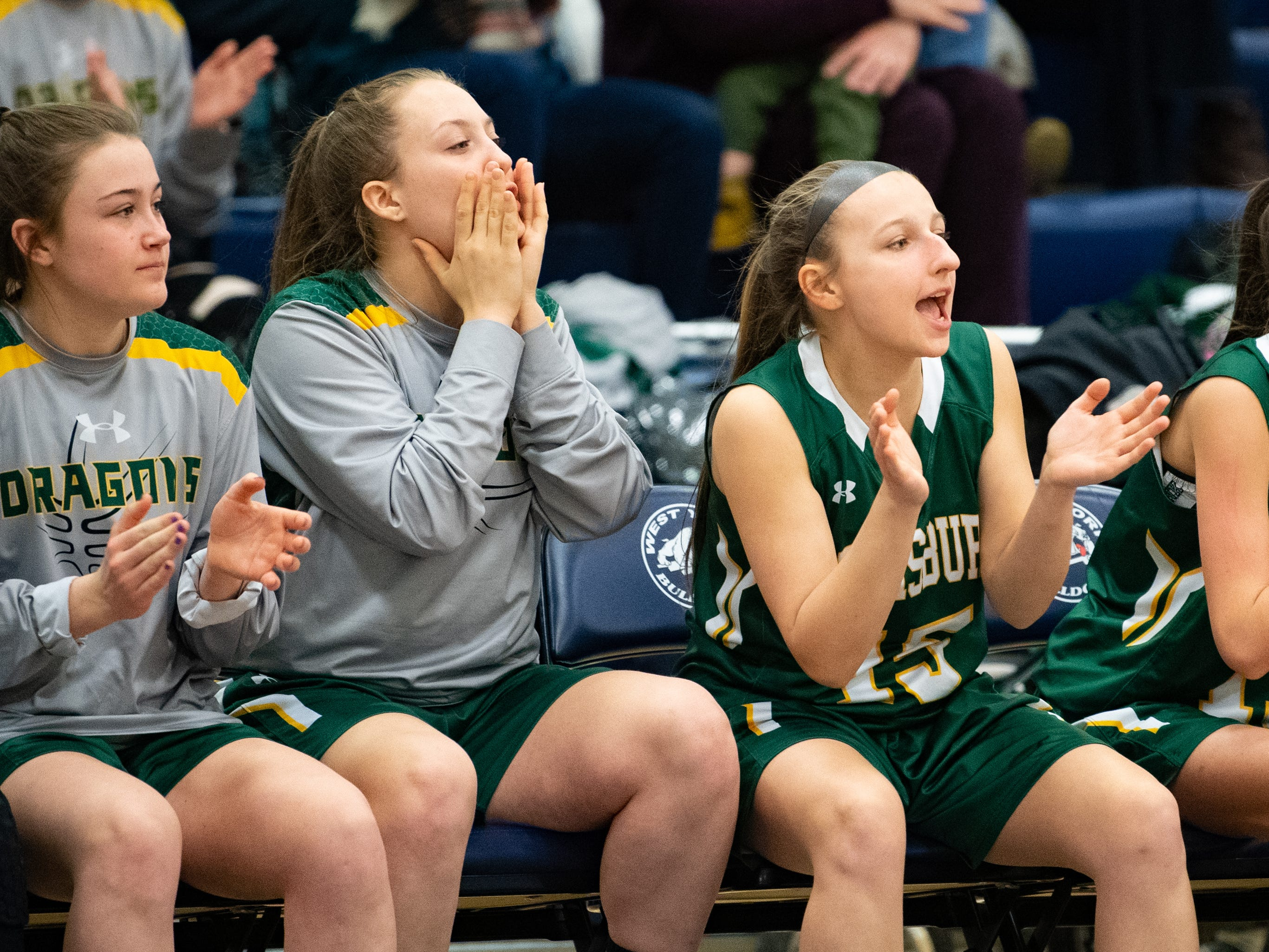 Lewisburg's bench cheers their teammates on during the PIAA first round girls' basketball game between Delone Catholic and Lewisburg Area Friday, March 8, 2019 at West York Area High School. The Squires defeated the Green Dragons 77 to 36.
