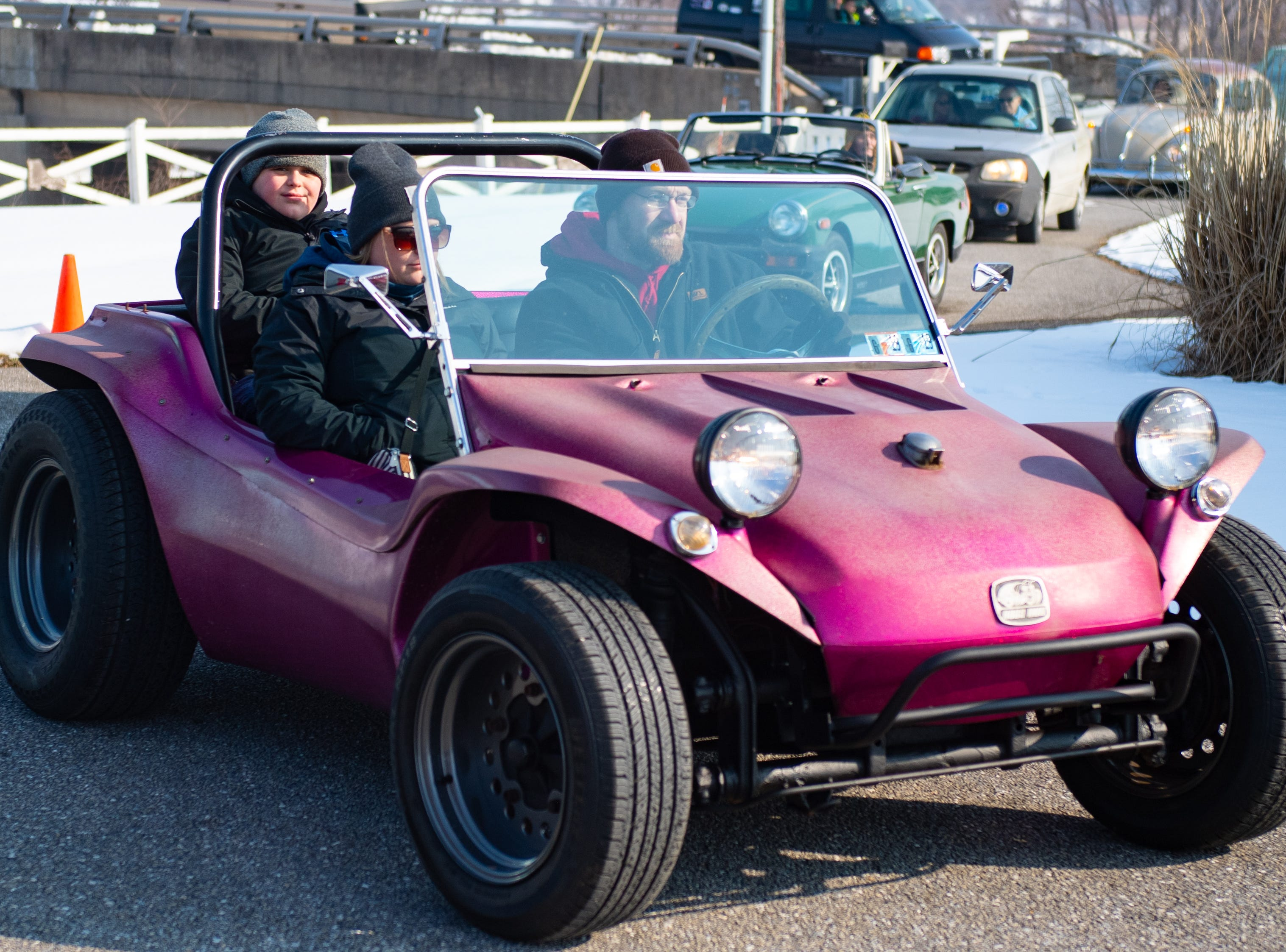 Some drivers brought unique cars to the celebration of Melanie Schmuck's life, Saturday, March 9, 2019.