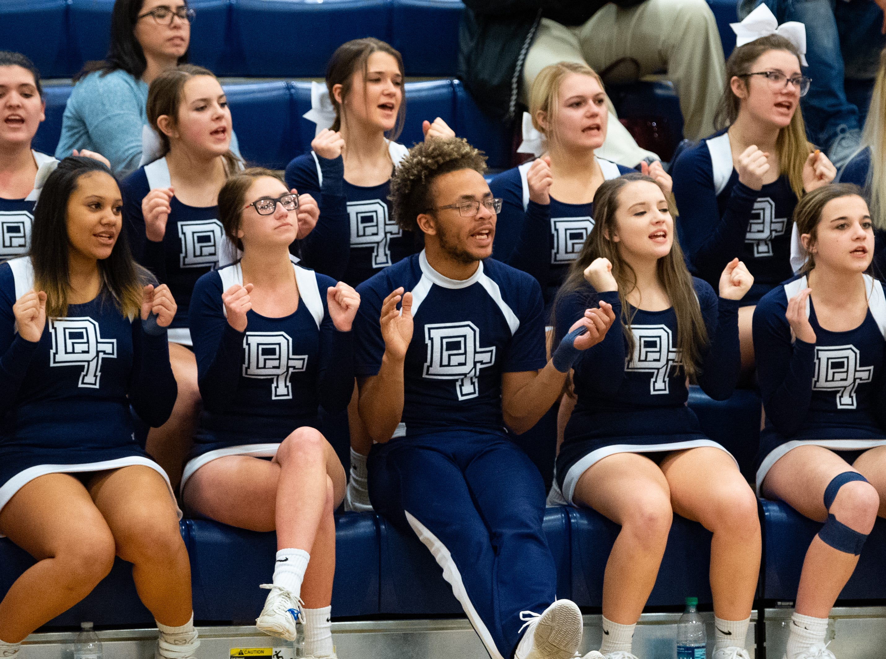 Dallastown cheerleaders are loud and proud during the PIAA first round girls' basketball game between Dallastown and Downingtown East Friday, March 8, 2019 at West York Area High School. The Wildcats defeated the Cougars 43 to 39.