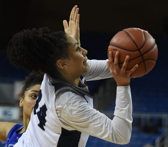 Nevada's Jade Redmon shoots against the Air Force Falcons at Lawlor Events Center on March 4, 2019.