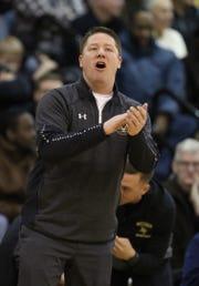 Pittsford Mendon head coach Bob Nally calls out a play.