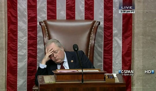 Rep. George Holding of North Carolina dozed off while presiding over the floor of Congress during the recent government shutdown.