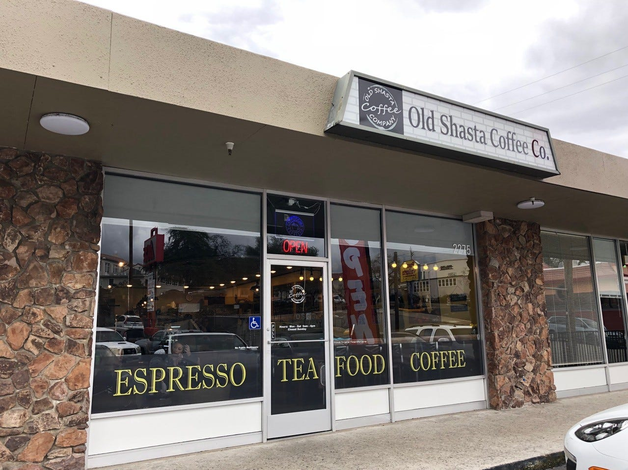 The entrance to the new Old Shasta Coffee Company across from U-Prep in the Ace Hardware shopping center in west Redding.