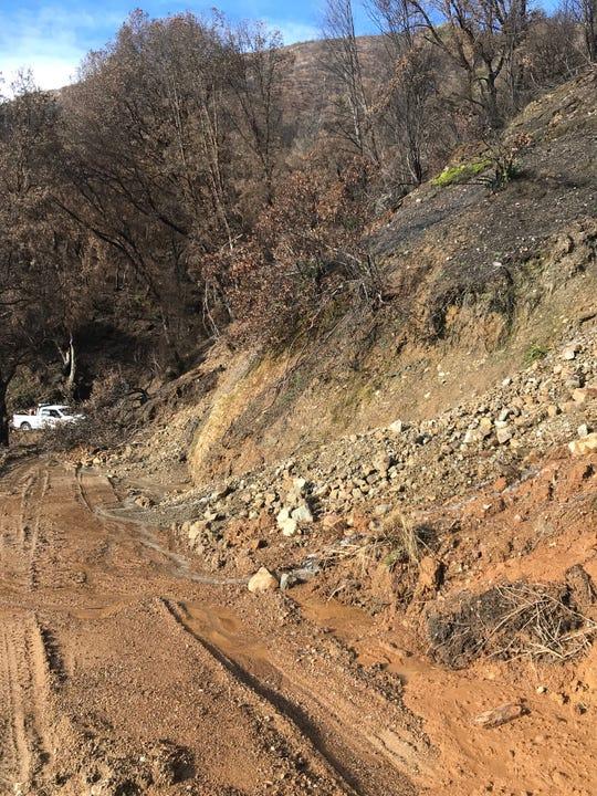 A mudslide closed Tom Green Mine Road near French Gulch on Friday, March 8, 2019.