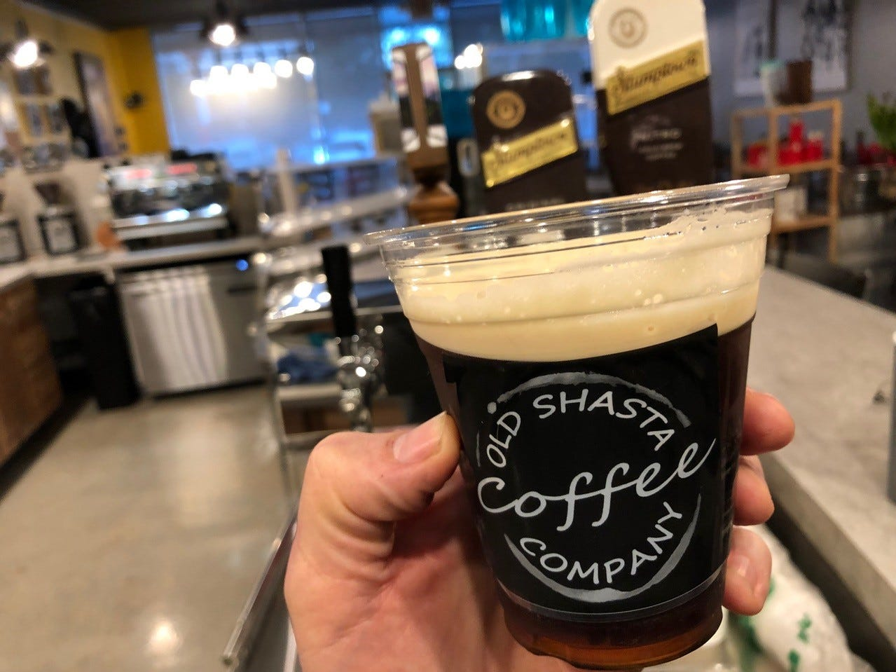 A heady glass of Stumptown nitro cold brew coffee at Old Shasta Coffee Company.