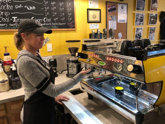 Jodi Fogelin gets ready to make espresso at the new Old Shasta Coffee Company in west Redding.