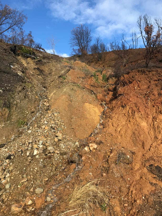 A mudslide closed Tom Green Mine Road near French Gulch in Friday, March 8, 2019.