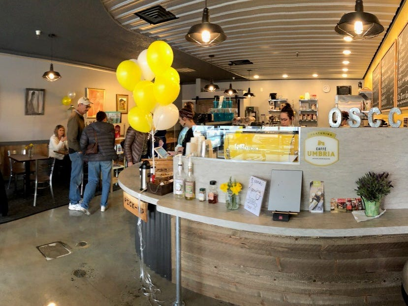 Grand opening day at the new Old Shasta Coffee Company on Eureka Way in west Redding.