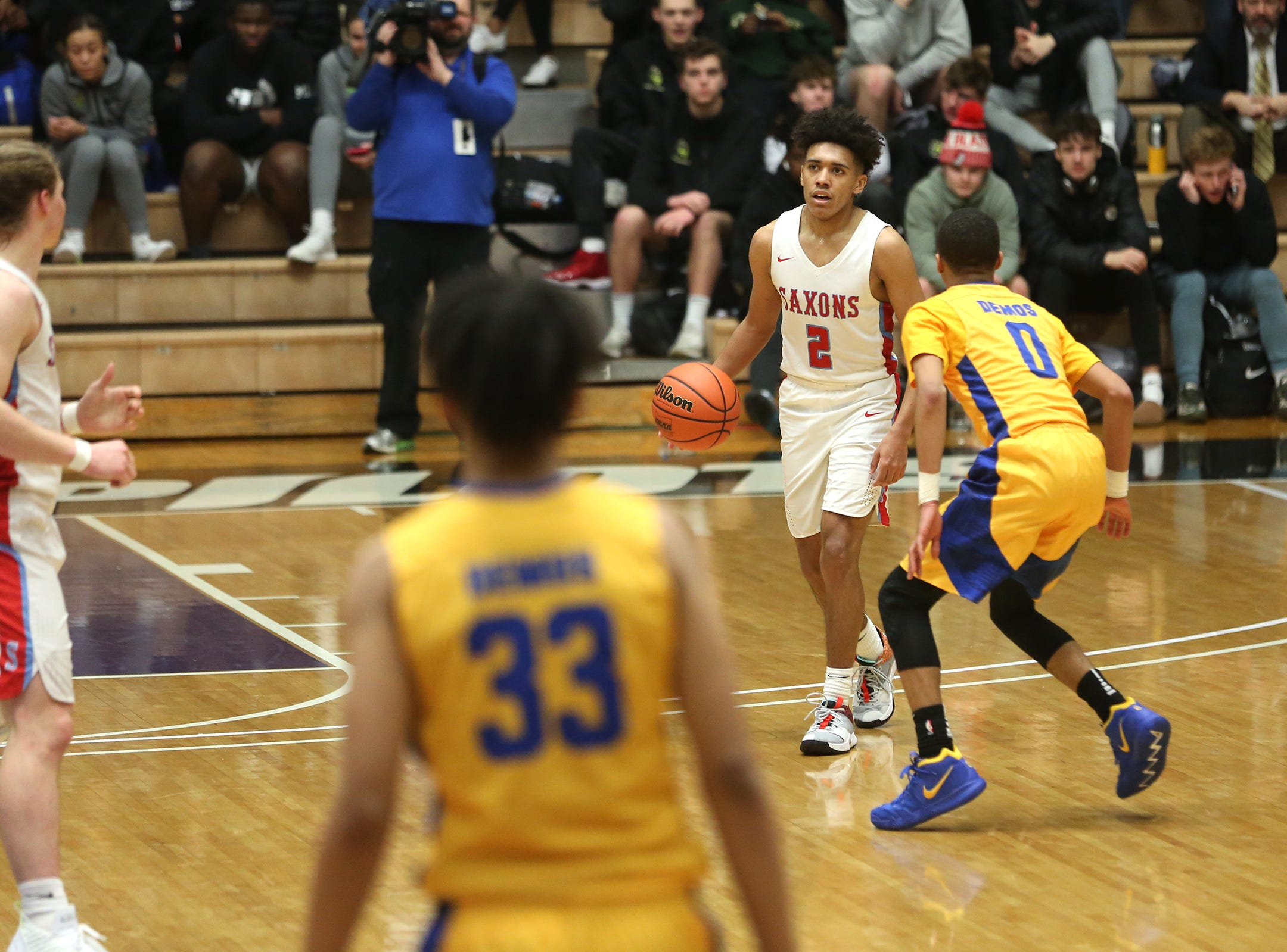 South Salem's Jaden Nielsen-Skinner (2) makes his way across the court during the South Salem vs. Jefferson boys basketball OSAA 6A semifinal game at Chiles Center in Portland on Friday, March 8, 2019.