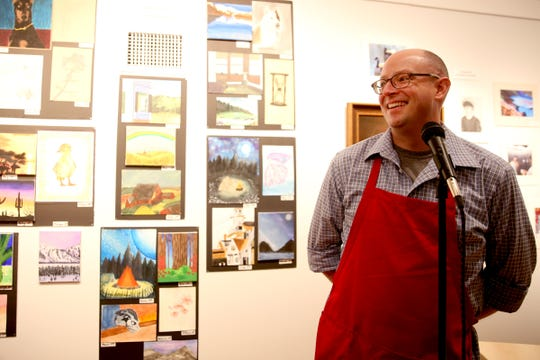 David Wilson, gallery director at the Salem Art Association, pictured emceeing the awards reception for the 10th annual Young Artists' Showcase in 2019.