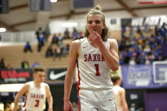 South Salem's Eric Lungu (1) reacts to a call during the South Salem vs. Jefferson boys basketball OSAA 6A semifinal game at Chiles Center in Portland on Friday, March 8, 2019.