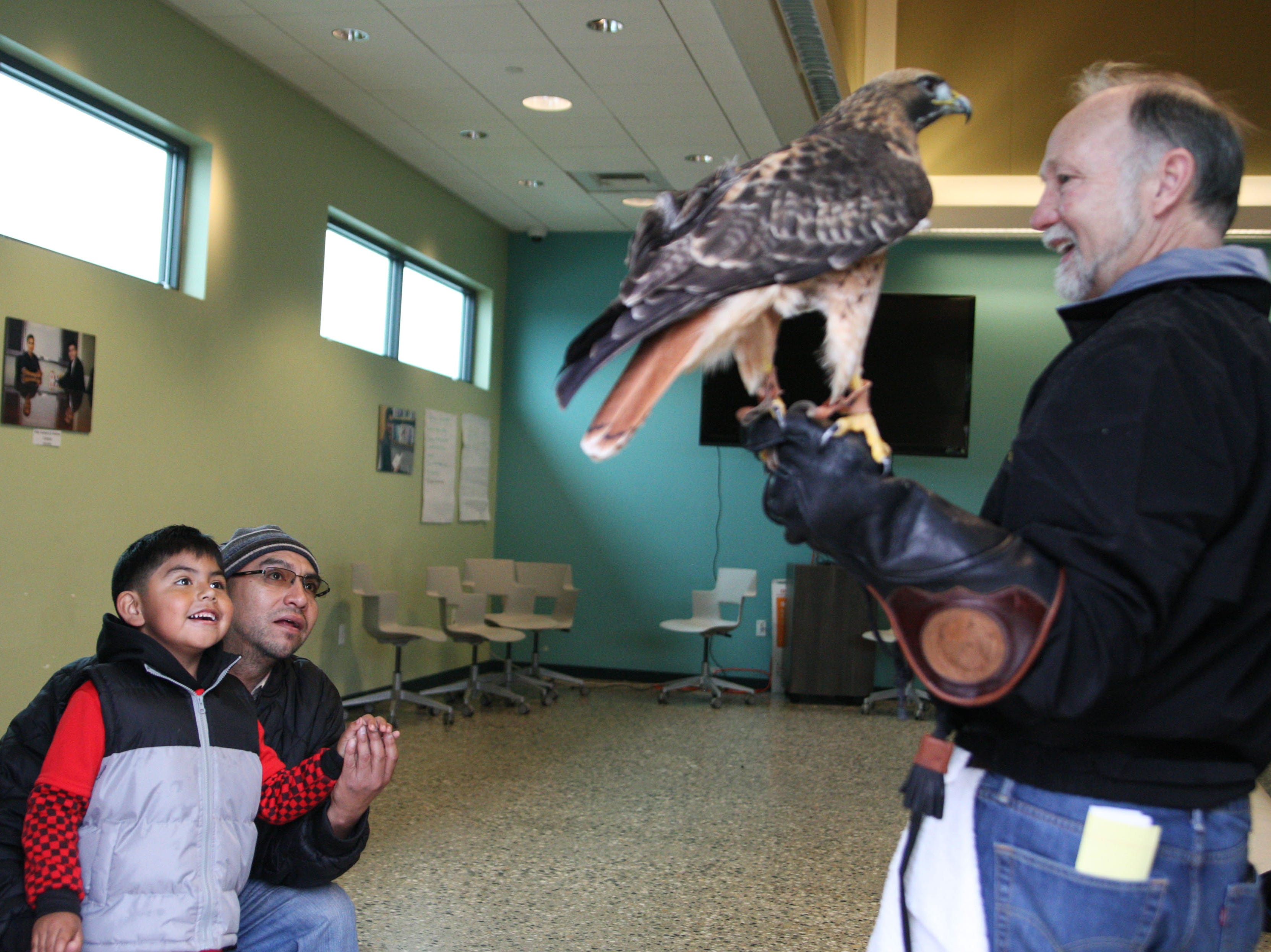 Cesar Yuesef De La Cruz and his father, Cesar De La Cruz, meet D.D. the Red-tailed Hawk. Yuesef will turn five on Monday.