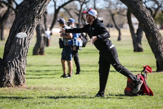 Roy Martin throws a disc during the Crush on the Concho tournament Saturday, March 9, 2019, at Middle Concho Park.