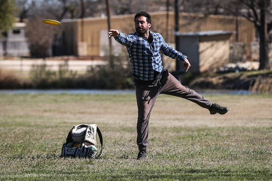 Matt Yankesh throws a disc during the Crush on the Concho tournament Saturday, March 9, 2019, at Middle Concho Park.