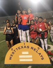 The San Angelo Central boys 4x400 relay accepts its award at the West Texas Relays March 8, 2019, in Odessa. The relay is made up of Logan Counts, Xavior Young, Christian Gabeldon, Tanner Dabbert.