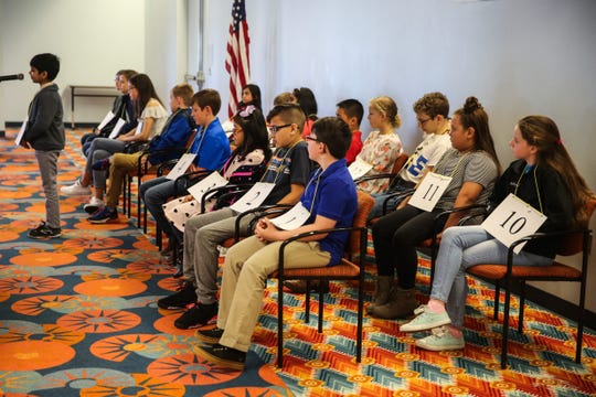 Students participate in the San Angelo Area Spelling Bee Saturday, March 9, 2019, at the Stephens Central Library.