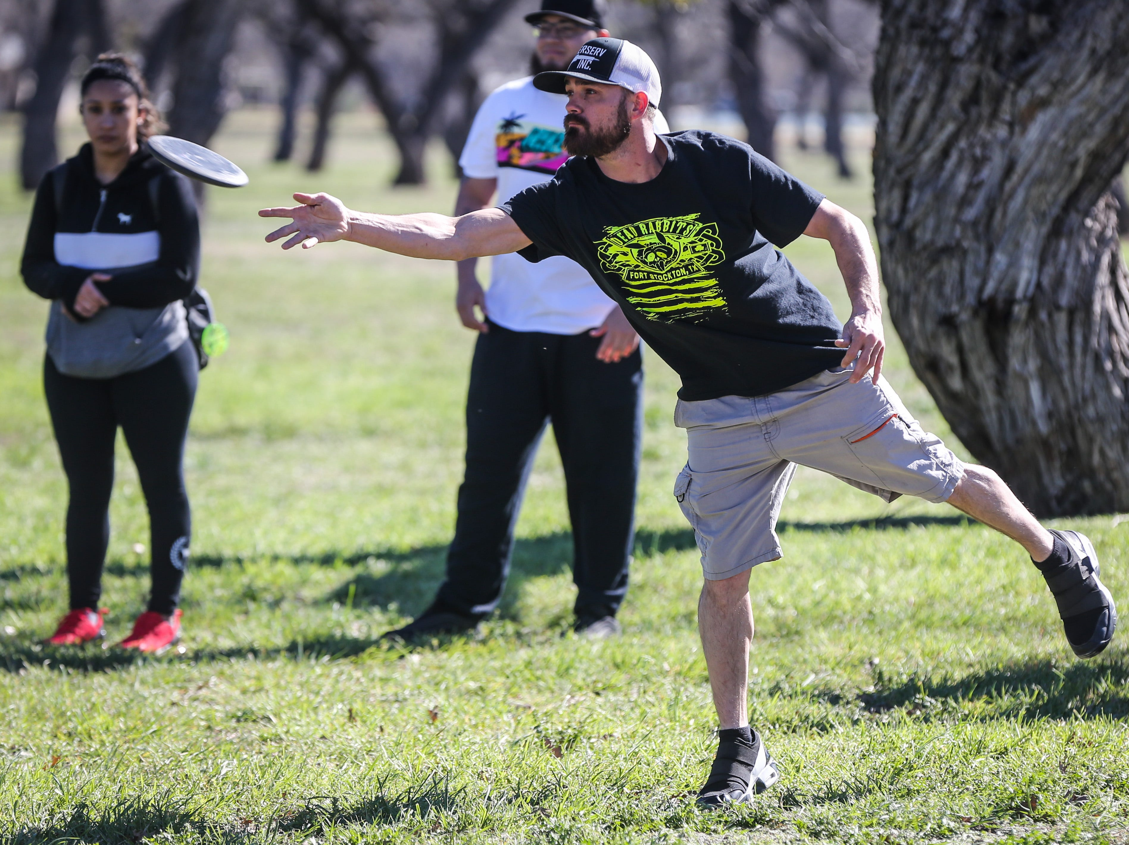 Ivan Stewart tees off during the Crush on the Concho tournament Saturday, March 9, 2019, at Middle Concho Park.