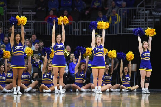 SDSU cheer during the game against Purdue Fort Wayne Saturday, March 9, in the Summit League tournament at the Denny Sanford Premier Center in Sioux Falls.
