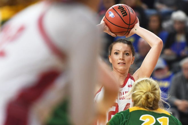 USD's Ciara Duffy during the game against North Dakota State Saturday, March 9, in the Summit League tournament at the Denny Sanford Premier Center in Sioux Falls.