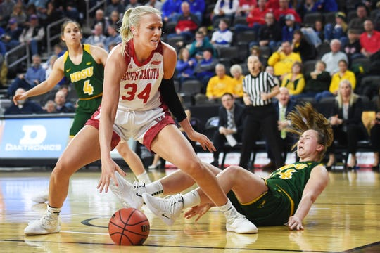 USD's Hannah Sjerven goes against North Dakota State's Emily Dietz under the net Saturday, March 9, in the Summit League tournament at the Denny Sanford Premier Center in Sioux Falls.