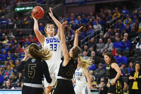 SDSU's Paiton Burckhard goes against Purdue Fort Wayne defense during the game Saturday, March 9, in the Summit League tournament at the Denny Sanford Premier Center in Sioux Falls.