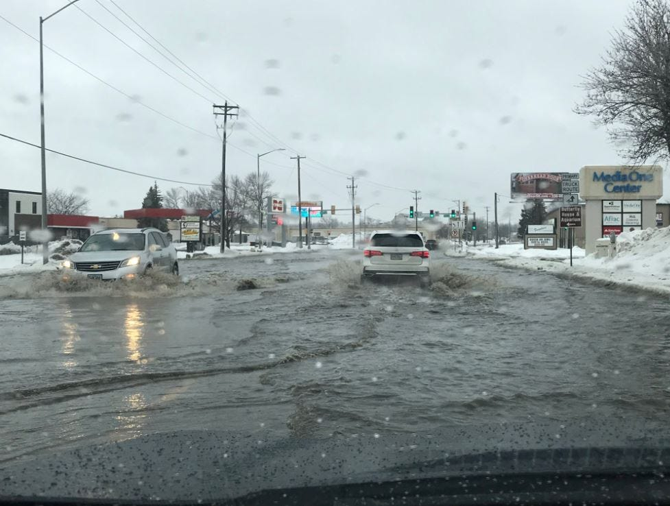 Flooding at 49th Street and Western on Saturday morning