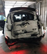 A Minnehaha County deputy was injured after they were hit from behind by an SUV on Interstate 90 on Saturday, March 9, 2019.