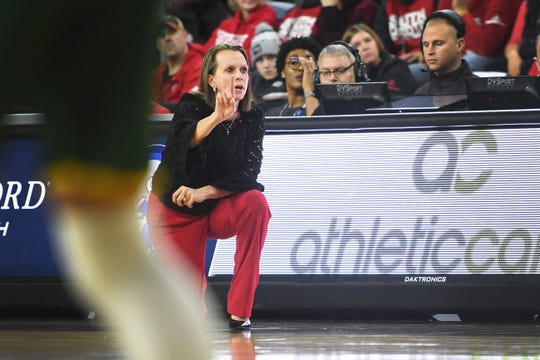 USD's head coach Dawn Plitzuweit during the game against North Dakota State Saturday, March 9, in the Summit League tournament at the Denny Sanford Premier Center in Sioux Falls.