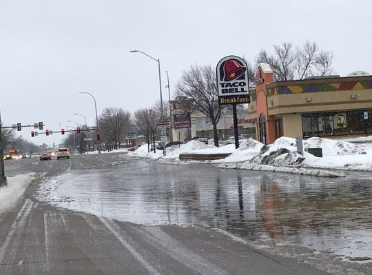 Street flooding in Sioux Falls on March 9, 2019.