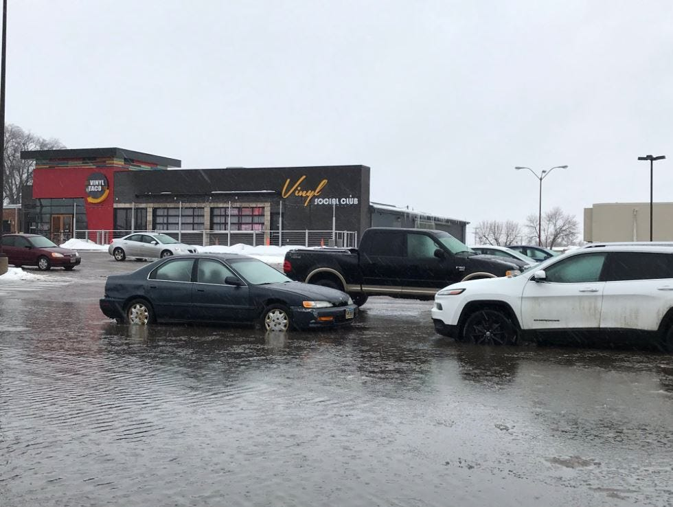 Street flooding March 9, 2018, in the area of Western Avenue and 41st Street.