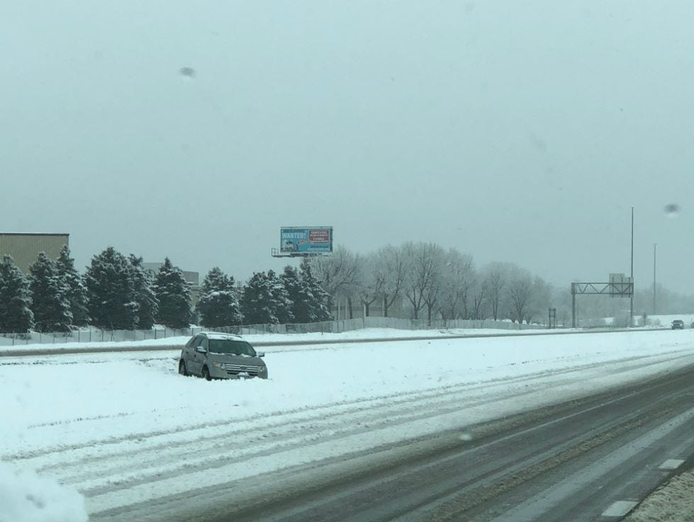 Vehicle in the ditch on I-229 and Minnesota Avenue.