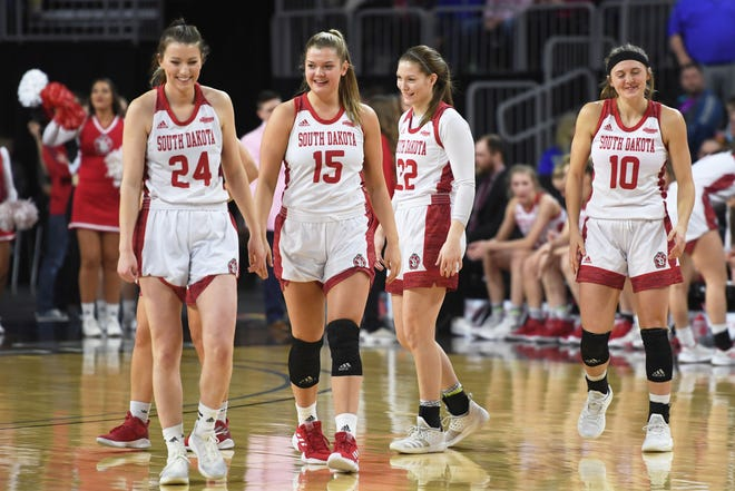 USD's Ciara Duffy (24), Taylor Frederick (15), Chloe Lamb (22) and Allison Arens (10) take the court for the game against North Dakota State Saturday, March 9, in the Summit League tournament at the Denny Sanford Premier Center in Sioux Falls.