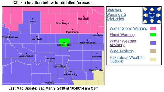 Weather alerts as of 10:45 a.m.