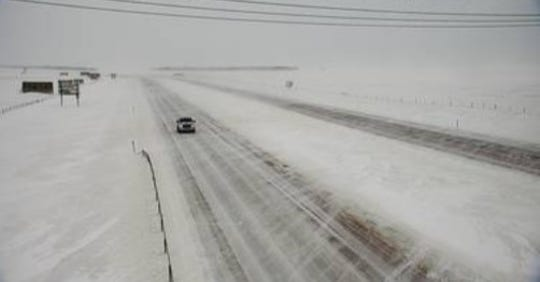 A screen capture of a road condition camera's view near Chamberlain on Interstate 90 at about 5 p.m. on Saturday.